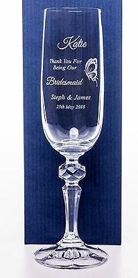 Personalised NEW BRIDESMAID BUTTERFLY Champagne Flute Glass Wedding Gift