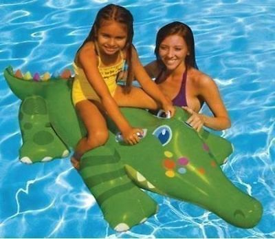 Childrens Inflatable Gator Ride On Water Toy Kids Crocodile Pool Float TY5459