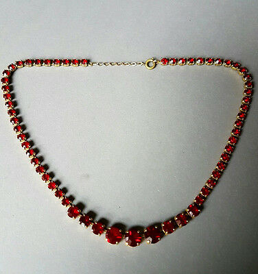 Vintage Graduated Necklace with Red Glass Stones