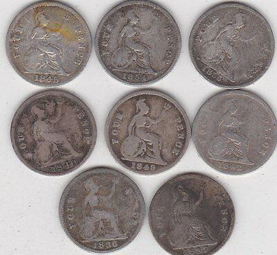 8 Different Fourpence Coins 1836 To 1855 In Used Fine Or Better Condition