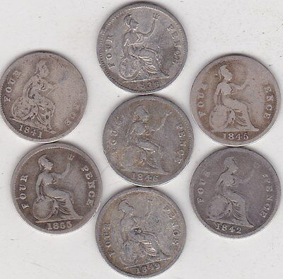 7 Different Fourpence Coins 1836 To 1855 In Used Fine Or Better Condition