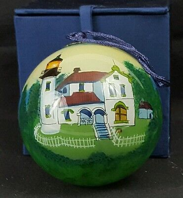 Christmas Ornament Interior Hand Painted Glass Admiralty Head Lighthouse, WA