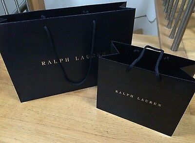 Ralph Lauren Gold/Blue Luxury Set of Two Mixed Gift Shopping Bags Cord Handles