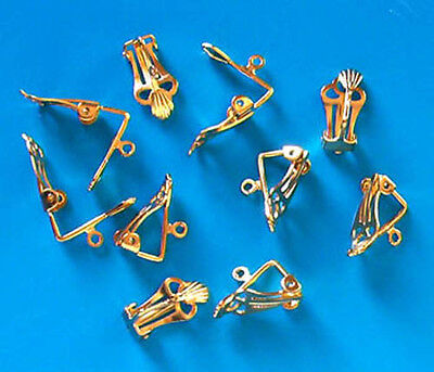 10 pairs of large gold plated clip on earrings, findings for jewellery making