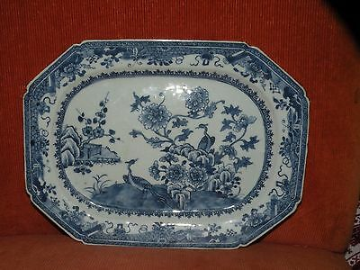 "Antique 18Th Century Chinese Export Porcelain Blue And White Platter 12"" X 9"""