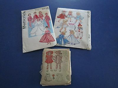 3 Vintage DOLL CLOTHES OUTFITS SEWING PATTERNS McCalls Butterick c1950's