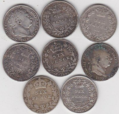 8 Different Silver Sixpence Coins 1817 To 1902 In Used Fine Or Better Condition