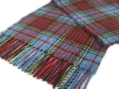 Highland Tweeds LONG LAMBSWOOL SCARF Anderson BLUE TARTAN CHECK British made