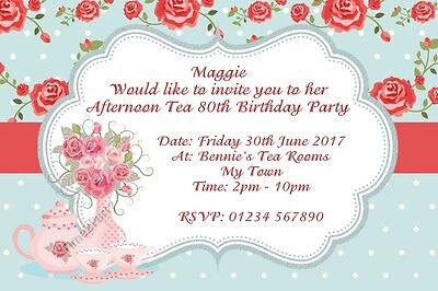 6x4 Vintage Afternoon Tea Party Birthday Invitations Personalised Invites