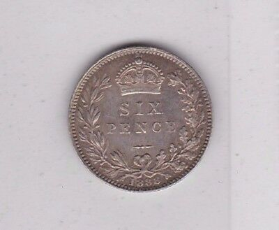 1888 Victorian Jubilee Head Sixpence In Extremely Fine Condition