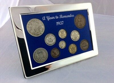 1937 Luxury Coin Year Gift Set, Presented in a Silver Plated Frame with Gift Box