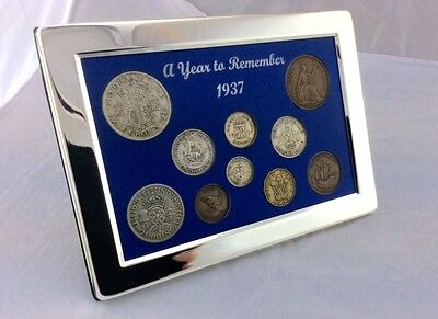 1937 Luxury Silver Framed Coin Year Gift Boxed Set, a Perfect 80th Birthday Gift