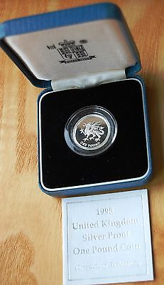 UK 1995 Welsh Dragon Silver Proof £1 One Pound Coin Boxed With COA #