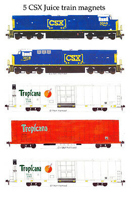 CSX Locomotives & Juice Train set of 5 magnets by Andy Fletcher
