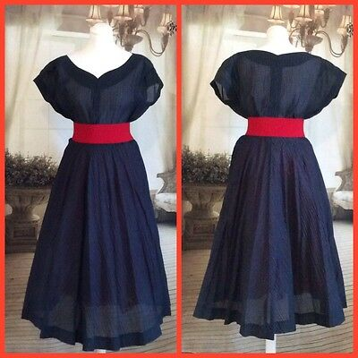 Vintage Original Navy 1950s Dress Size 12/14 Vivien Of Holloway Style