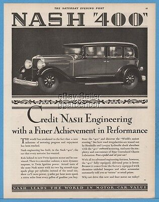 1929 Nash 400 Sedan antique motor car automobile Engineering Ad