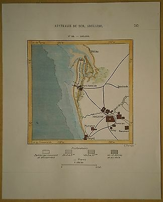 1889 Perron map ADELAIDE, SOUTH AUSTRALIA (#158)