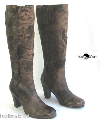 f6accb873754 Too Much - Bottes A Talons 8.5 Cm Cuir Marron Camouflage 40 - Excellent Etat
