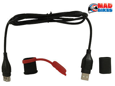 Optimate USB to USB Weatherproof Extension Lead 110cm Sat Nav Phone Charging Etc