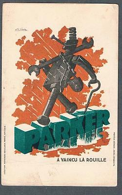 Original 1910's French Parker Product Signed Illustrated Advertising Postcard
