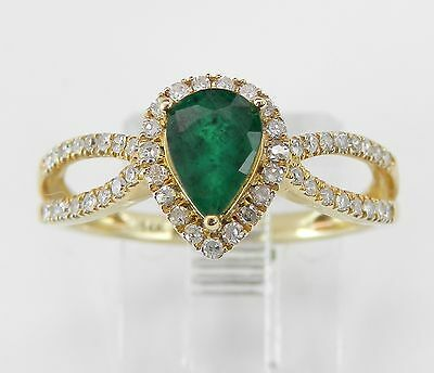 Diamond and Emerald Halo Engagement Ring 14K Yellow Gold Size 7 May Birthstone