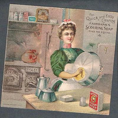 Original 1900's Victorian US Fairbank Cie. Scouring Soap Mechanical Trade Card