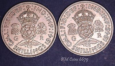 1941 & 1945 George VI KGVI Silver 500 Florin/Two shilling coins [6679]