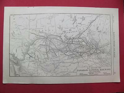 1920 Canadian National Railway System Map (Western) Depot Location 97 Year Old