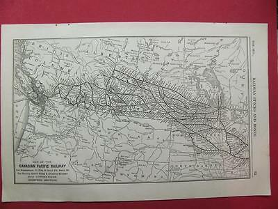 1920 Canadian Pacific Railway System Map (Western) Depot Location 97 Year Old