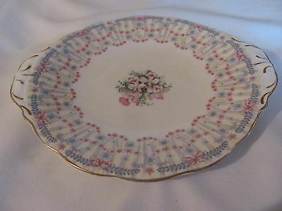 Queen Anne Bone China Handled Cake Plate England  Royal Bridal Gown Pattern