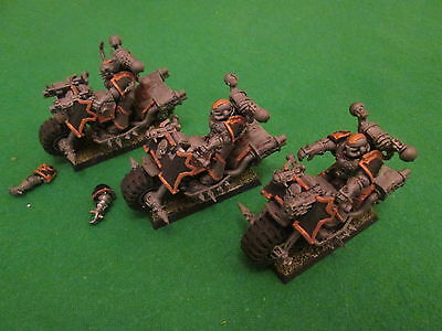 3 X Chaos Space Marines Bikes - Warhammer 40K - Nicely Painted