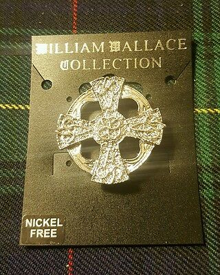 Celtic Scottish Cross Design Brooch Traditional William Wallace Pewter