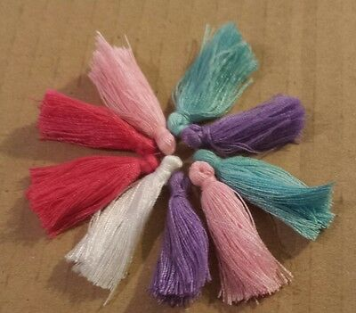 10 SUPER CUTE BRIGHT COLOR COTTON CRAFT TASSELS-30mm-sewing,jewellery etc