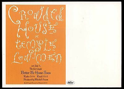 """Crowded House """"Out July 7"""" Temple of Low Men VINTAGE promo-only POSTCARD 1988"""