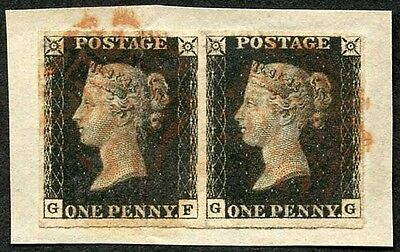 Penny Black (GF/GG) plate 6 Pair on piece (GF light vertical crease)