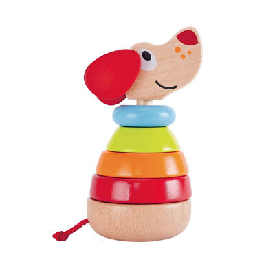 """Hape E0448 stapelhündchen Pepe """" with Sound 6 Pieces New Wood! #"""