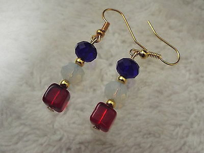 Goldtone Red White Blue Crystal Glass Bead Pierced Earrings (A66)
