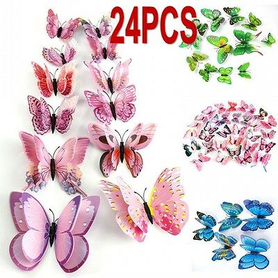 24 pieces DIY 3D Butterfly Wall Stickers Art Design Decals Room Decor Home Decor
