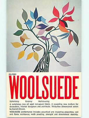 Pre-1980 advertising postcard WOOLSUEDE FABRIC - FOR UPHOLSTERY & DRAPERY r5161