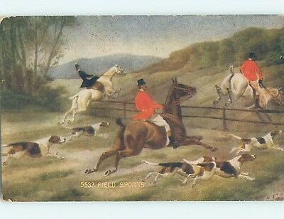 Unused Divided-Back FOX HUNT HUNTING - DOGS AND MEN ON HORSES o7732