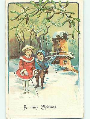 Divided-Back christmas GIRL AND BOY IN THE SNOW o4334