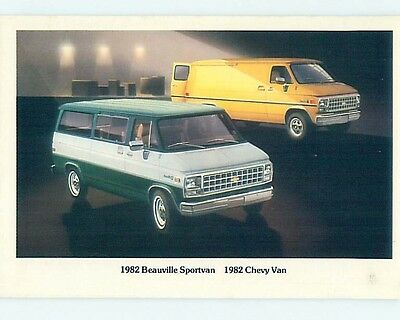1982 car dealer ad postcard CHEVROLET BEAUVILLE SPORTVAN & CHEVY VAN o8296-12