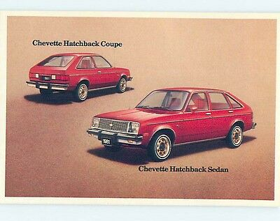 Unused 1970's car dealer ad postcard CHEVROLET CHEVETTE COUPE & SEDAN o8339
