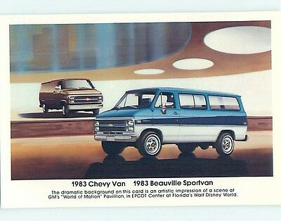 1983 car dealer ad postcard CHEVROLET BEAUVILLE SPORTVAN & CHEVY VAN o8322-12