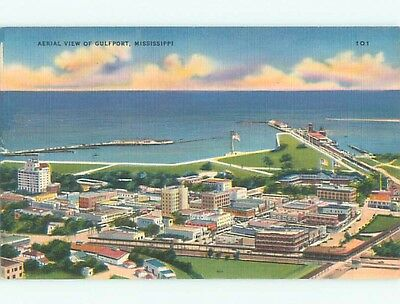 Unused Linen AERIAL VIEW OF TOWN Gulfport Mississippi MS n3650
