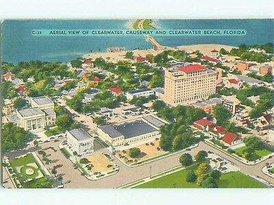 Unused Linen AERIAL VIEW OF TOWN Clearwater Florida FL n3714