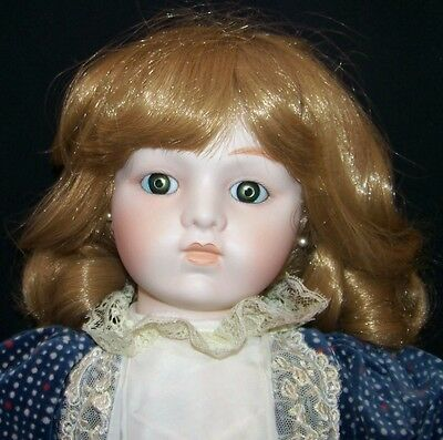 """Vintage MUSICAL Bisque 20"""" Old-Fash Girl DOLL by Willitts Blue&Ivory Outfit, exl"""
