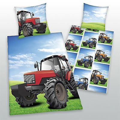 Red Tractor Single Reversible Duvet Cover And Pillowcase Set – 100% Cotton
