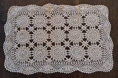 Vintage Set 4 Crochet Lace Placemats Queen Anne Style Ecru Beige Hand Made