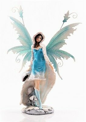 Turquoise Snow Fairy  - Legends of Avalon Figurine with Metal Wings
